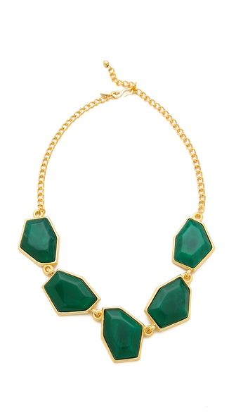 Kenneth Jay Lane Hexagon Malachite Necklace