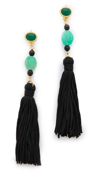Kenneth Jay Lane Carved Tassel Earrings