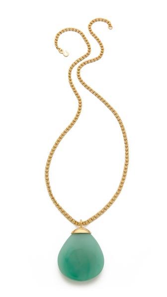 Kenneth Jay Lane Round Teardrop Pendant Necklace