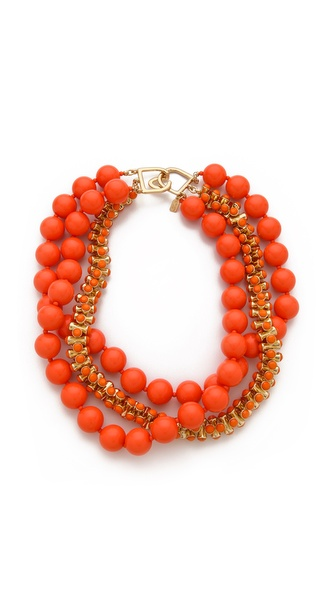 Kenneth Jay Lane 3 Layered Beaded Necklace