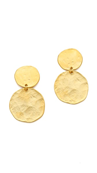 Kenneth Jay Lane Two Tiered Hammered Earrings