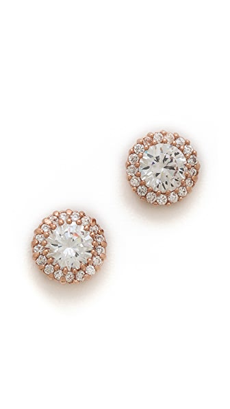 Kenneth Jay Lane Round CZ Pave Trim Stud Post Earrings