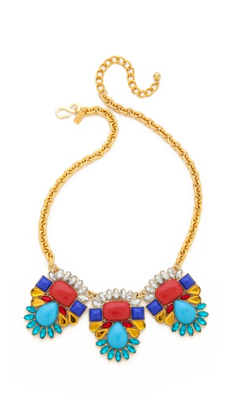 Kenneth Jay Lane Triple Gem Drop Necklace