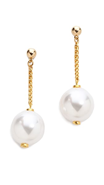 Kenneth Jay Lane Drop Imitation Pearl Cup Earrings