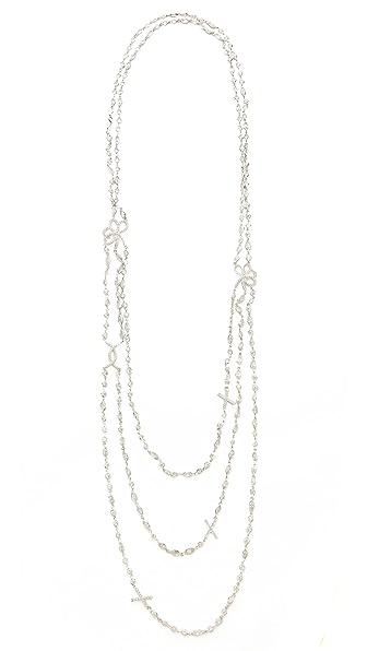 Kenneth Jay Lane Baguette Triple Row Necklace