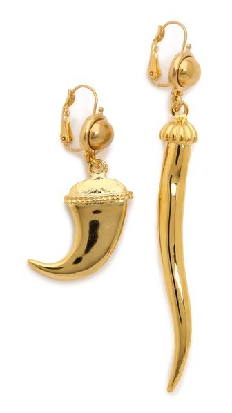 Kenneth Jay Lane Assymetrical Horn Earring Set