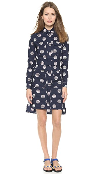 Kenzo Kenzo Dots & Logo Stripes Shirt Dress (Blue)