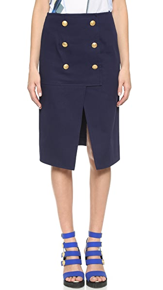 Kenzo Kenzo A Line Skirt With Buttons (Blue)