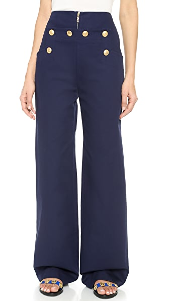 Kenzo Kenzo Wide Leg Trousers With Buttons (Blue)