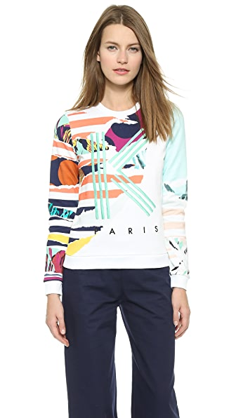 Kenzo Kenzo Striped Flowers Logo Pullover (White)