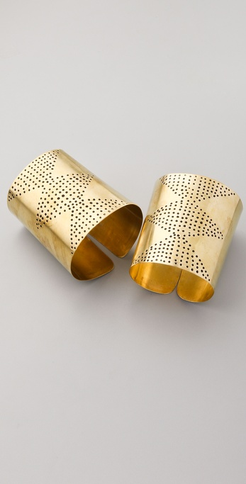 Kora Set of 2 Diamond Brass Cuffs