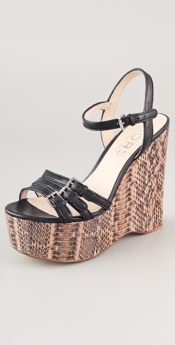 KORS Michael Kors Jacinda Snake Wedge Sandals