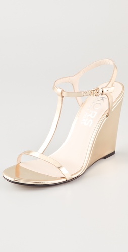 KORS Michael Kors Ruby T Strap Wedge Sandals