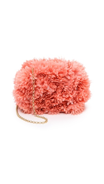 Kotur Margo Clutch with Drop In Chain & Silk Flowers
