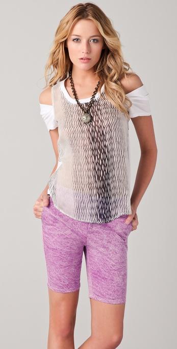 Kelly Wearstler Mesh Print Tee with Cutout Shoulders