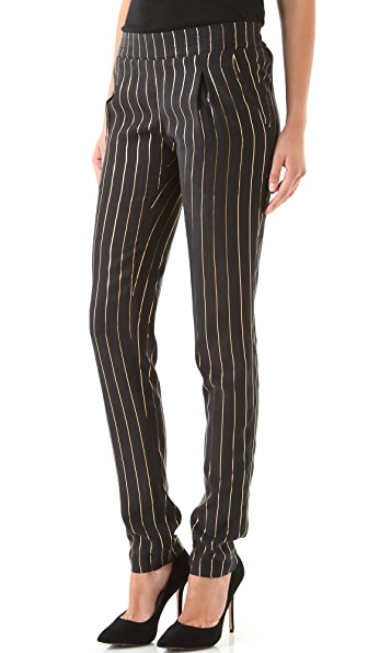 Kelly Wearstler Harper Metallic Pinstripe Pants
