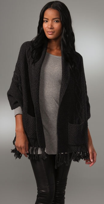 La Fee Verte Fringe Wrap Sweater