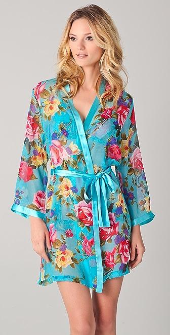 La Fee Verte Silk Floral Robe