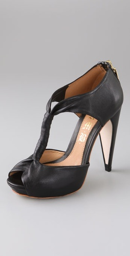 L.A.M.B. Zoey Platform Pumps with Open Toe