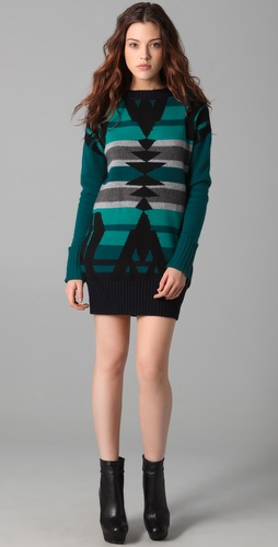 L.A.M.B. Intarsia Tunic Sweater Dress