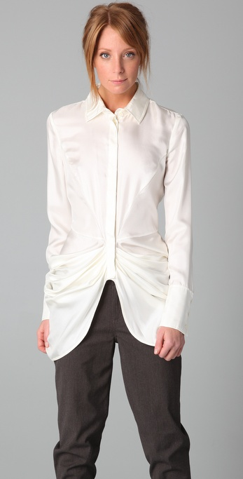 L.A.M.B. Draped Silk Blouse