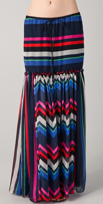 L.A.M.B. Multi Striped Maxi Skirt