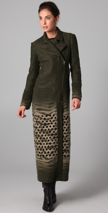 L.A.M.B. Long Coat with Bottom Cutouts