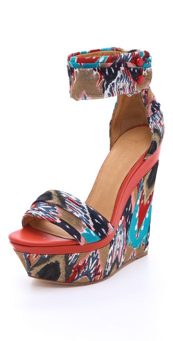 L.A.M.B. Iowa Printed Wedge Sandals