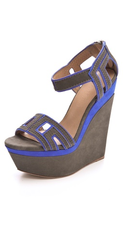 L.A.M.B. Iva Suede Wedge Sandals