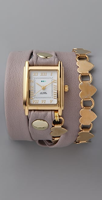 La Mer Collections Gold Heart Chain Wrap Watch