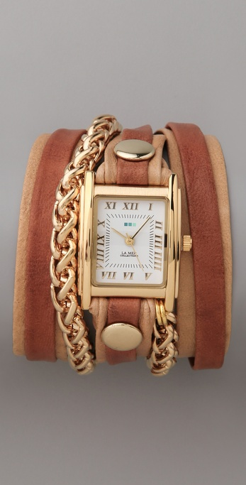 La Mer Collections Tobacco Layer Watch with Gold Motor Chain