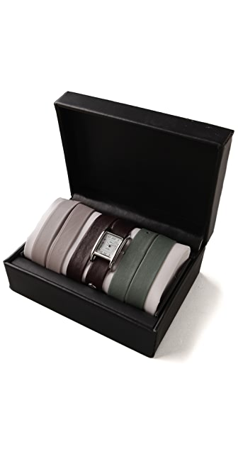 La Mer Collections Silver Watch with Interchangeable Straps