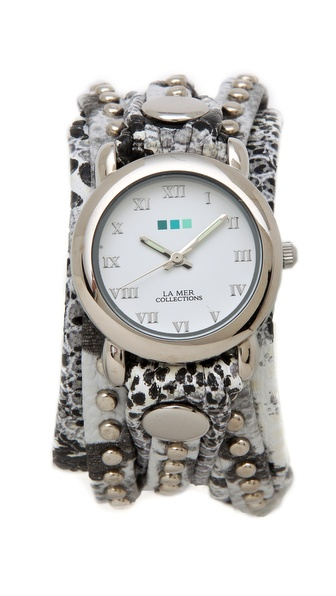 La Mer Collections Snakeskin Bali Stud Wrap Watch
