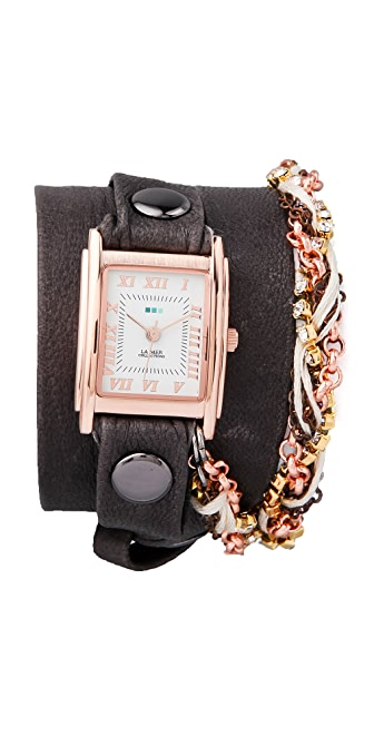 La Mer Collections Turkish Crystal Chain Wrap Watch