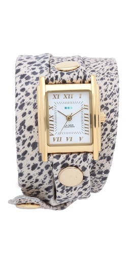La Mer Collections Paris Rain Print Wrap Watch
