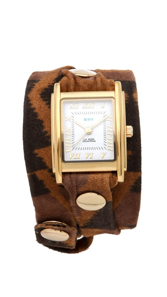 La Mer Collections Limited Edition Aztec Suede Wrap Watch