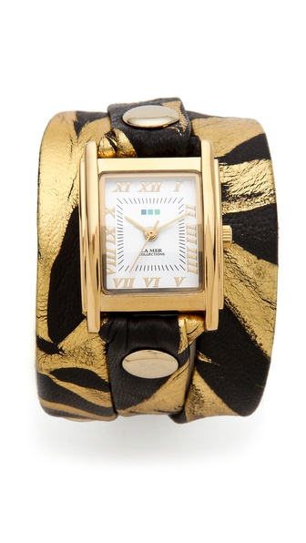 La Mer Collections Limited Edition Zebra Wrap Watch