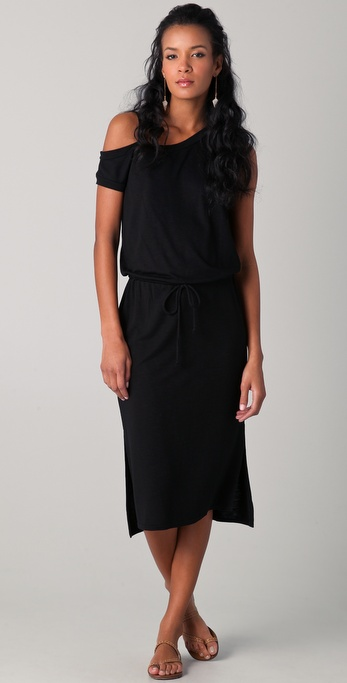 Lanston Asymmetrical Shoulder Midi Dress