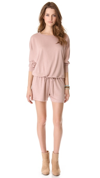Lanston Boyfriend Romper - Blush at Shopbop / East Dane