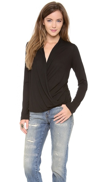 Lanston Surplice Long Sleeve Top - Black at Shopbop / East Dane
