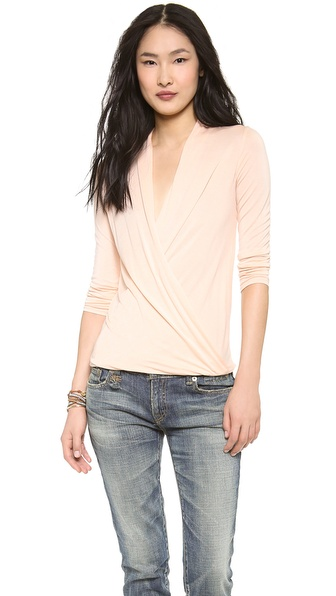 Lanston Surplice Long Sleeve Top - Nude Blush at Shopbop / East Dane