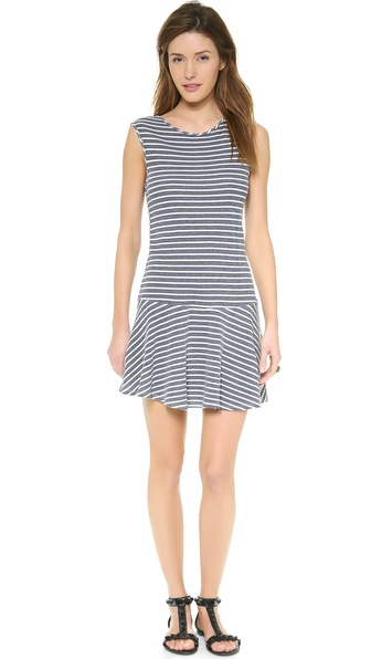 Shop Lanston online and buy Lanston Drop Waist Dress Stripe - A drop waist silhouette lends casual appeal to this striped french terry Lanston dress. Deep arm openings. Hidden back zip. Unlined. Fabric: French terry. 55% cotton/45% rayon. Hand wash. Made in the USA. MEASUREMENTS Length: 36in / 91.5cm, from shoulder. Available sizes: L,M,S,XS