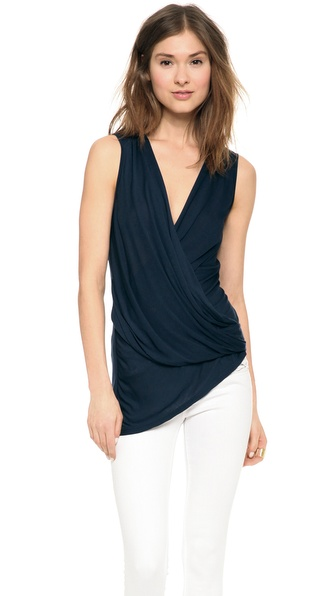 Lanston Asymmetrical Surplice Top - Navy at Shopbop / East Dane