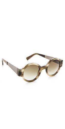 Lanvin Round Sunglasses with Hammered Metal at Shopbop.com