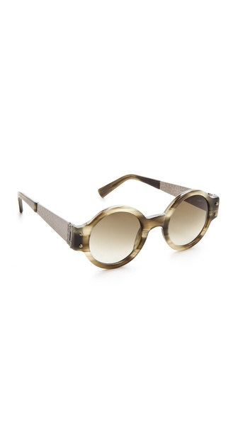 Lanvin Round Sunglasses with Hammered Metal