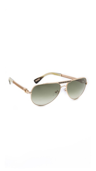 Lanvin Mesh Aviator Sunglasses - Shiny Gold at Shopbop