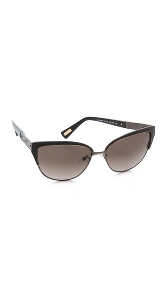 Lanvin Cat Eye Leather Detail Sunglasses Gold/Brown Gradient