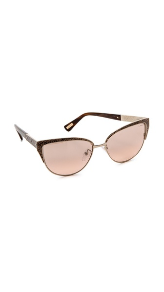 Lanvin Cat Eye Leather Detail Sunglasses - Gold/Camel/Pink Mirror at Shopbop