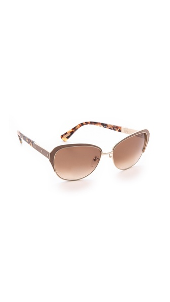 Lanvin Leather Detail Sunglasses - Gold/Brown Gradient at Shopbop