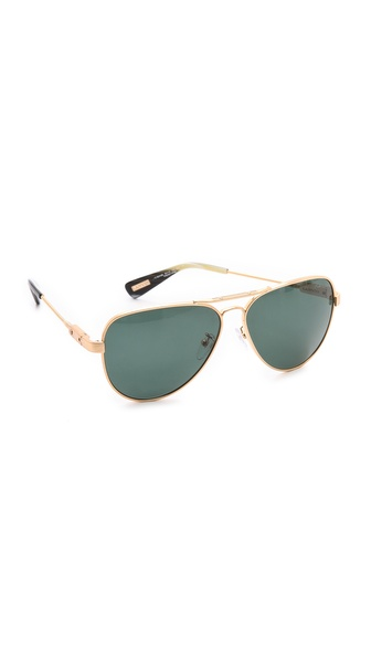 Lanvin Polarized Aviator Sunglasses - Shiny Gold/Green at Shopbop